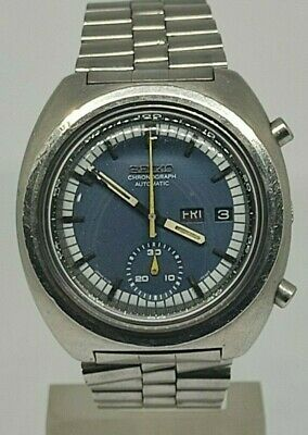 $ CDN253.07 • Buy Seiko 6139 7002 Chronograph Automatic Watch Tachymeter Blue Dial Day Date Rare