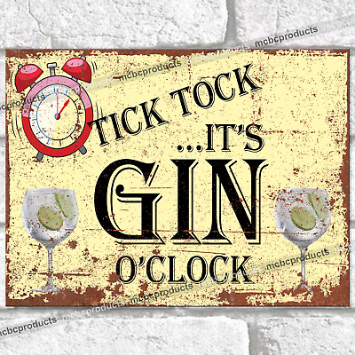 £4.95 • Buy GIN O'CLOCK Metal Signs Funny Pub Bar Kitchen Time Wall Retro Plaque Tin Sign UK