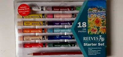 REEVES Oil Pastel Crayons 18 Oil Pastels +Drawing Pencil Hobby Art • 12.99£