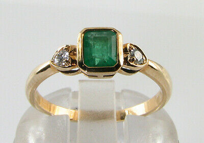 Dainty 9k 9ct Gold Colombian Emerald Diamond Art Deco Ins Heart Ring Free Resize • 329£