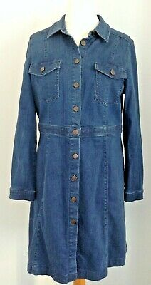 M&S Limited Collection Button Through L/Sleeve Blue Denim Dress 14 (worn Once) • 17.50£