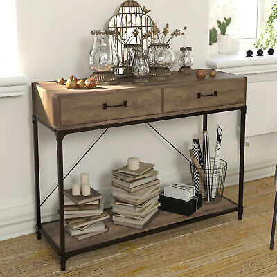 Industrial Console Table Vintage Sideboard Cabinet Rustic Metal Hall Display • 69.99£
