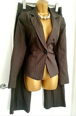 GEORGE Size 12 Brown 2 Piece Smart Office Business Pin Striped Trouser Suit  • 0.99£