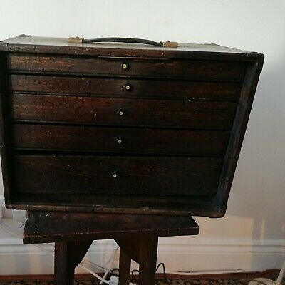 Antique Wooden Collectors / Machinist's Cabinet / Chest Of Drawers • 85£