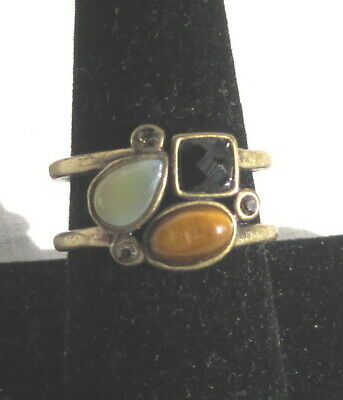$ CDN25.23 • Buy Lia Sophia Ring Double Banded Tiger's Eye, MOP,  Accent Crystals Size 10