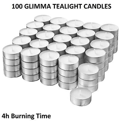 IKEA Glimma 100 Tea Light Candles Unscented White 38mm Wax Tealight 4 Hours • 7.99£
