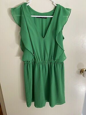 AU13 • Buy ZARA Gorgeous Green Summer Dress Size XS 8