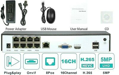 4K 16 CHANNEL NVR 5MP Network Video Recorder, 8 POE Port, P2P QR Code, HDMI VGA • 114.99£