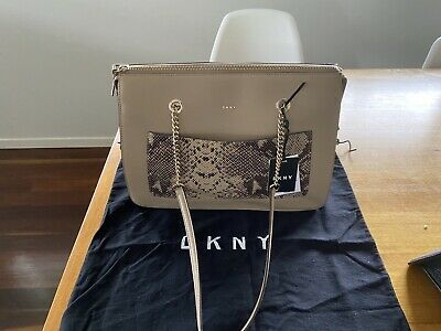 AU100 • Buy TAN NUDE DKNY LEATHER SHOULDER BAG With Snakeskin RRP $355