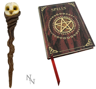 RED SPELL BOOK Journal 17cm & ARTEMIS OWL MAGIC WAND Wisdom Wicca Pagan Witch • 13.99£