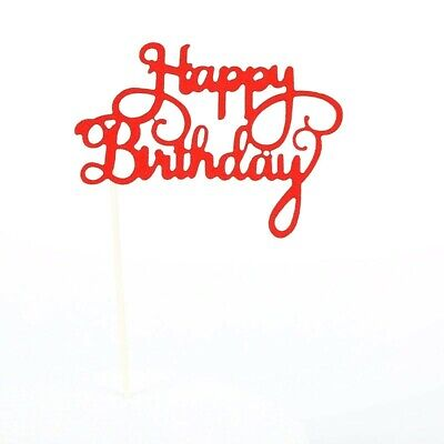 £1 • Buy Glitter Happy Birthday Cake Toppers Red Calligraphy Bling Sparkle Decoration