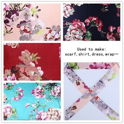 £7.45 • Buy Satin Fabric Floral Faux Silk Cloth Flower Thin For Dress Scarf 150*100CM Sewing