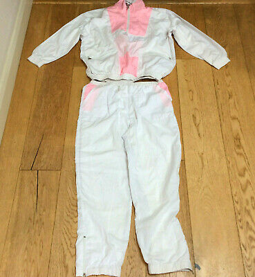 Vintage Retro Shell Suit Size 16/18 Champion 80s 90s Woman Pink White Lined • 15.99£
