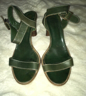 Minelli Italian Sandals Green Leather Size 5 • 5£