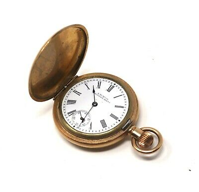 Antique Victorian Gold Plated Waltham Fob Top Wind Full Hunter Pocket Watch 41g • 26£