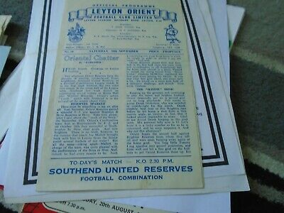 Leyton Orient Reserves V Southend United Reserves 1957-8 • 1.99£