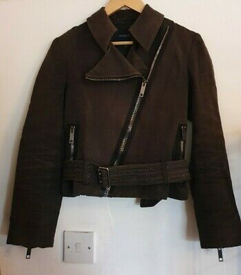 Fab Gorgeous Burberry Rrp £550 Biker Motorcycle Heavy Linen Jacket 8 Belted Zip • 29.99£