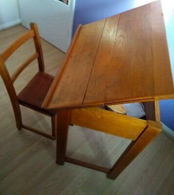 Vintage Lift Top Wooden School Desk And A Chair • 15.40£