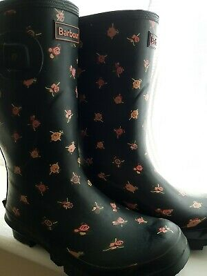Womens Barbour Black With Pink Roses/ Flowers Wellies Boot Mid High Size 4 EU37 • 10.50£