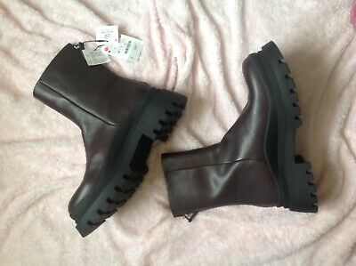 Zara Burgundy Leather Track Sole Ankle Boots Size 7 (40) • 59.99£