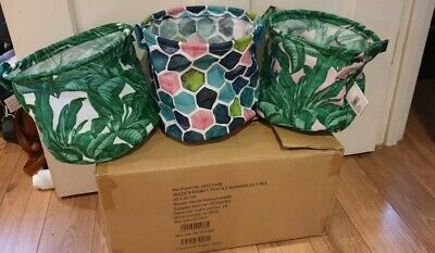 Box Of 24 - Storage Baskets With Handles - Mix Of 3 Colours- 20cmx20cm  Job Lot  • 0.99£
