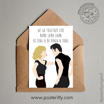 £4 • Buy GREASE We Go Together Travolta Minimal Posteritty Funny Valentines Day Card Art
