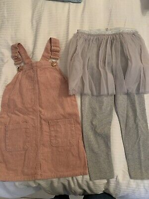 Next Tulle Skirt Leggings And Primark Cordrouy Dress 4-5 Years • 2£