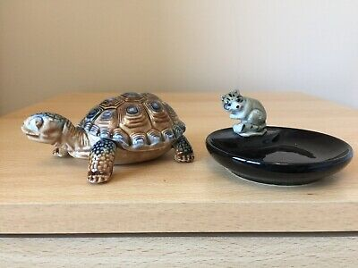 Vintage Wade Tortiose Trinket Dish - Removable Lid/Shell & Racoon Whimtray VGC • 4.70£