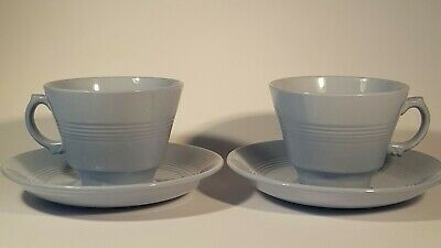 £10 • Buy Pair Woods Ware Iris Blue Cup And Saucer X2 C 1940's