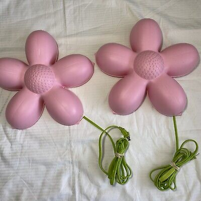 Ikea Smila Blomma Childrens TWO Lamps Pink Wall Flower Lights • 14.30£