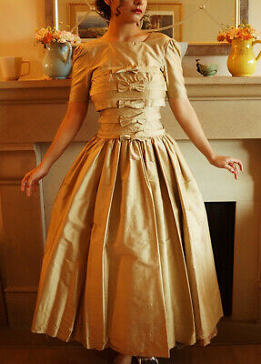 £53.18 • Buy 1950s Heavy Silk Gold Bow Gown Dress Prom XS VTG Couture Ball Gown