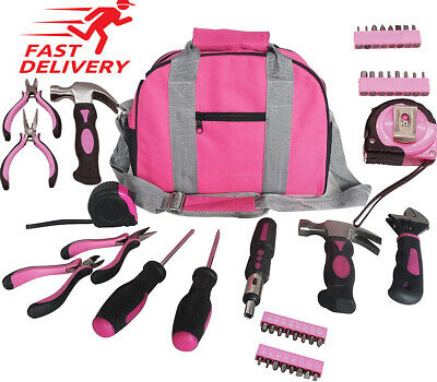 Ladies Pink Tool Kit Tool Bag DIY Set Includes Pink Hammer, Pink Pliers • 25.43£