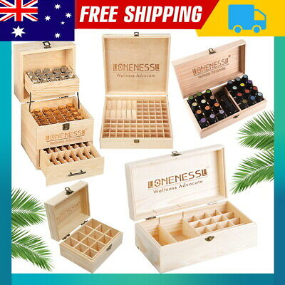 AU13.29 • Buy Aromatherapy Essential Oil Storage Box Wooden Case Container Holder 12-85Slots