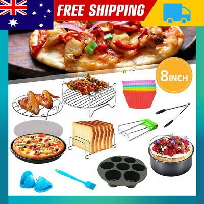 AU25.50 • Buy 8 Air Fryer Accessories Rack Baking Cup Cake Pizza Oven Barbecue Pan BBQ Tray AU