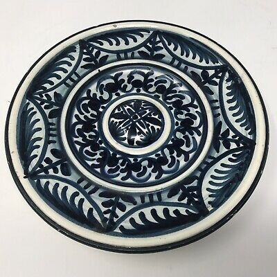 Vintage Mid Century Spanish Blue White Handpainted Wall Plate Azulejos Inspired • 6£