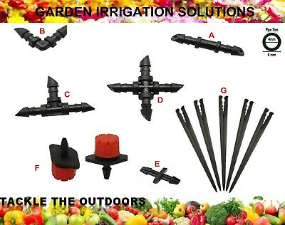 Micro 4mm Irrigation Garden Watering System Parts Connectors Drippers Spikes UK • 4.45£