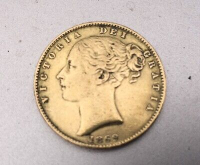 Full Gold Sovereign 1869 Queen Victoria, Young Head  & Shield • 445£