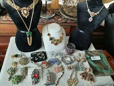 $ CDN15.25 • Buy Vintage To Now Costume Jewelry Lot Rhinestone, Mixed Stones, Lots Of Color