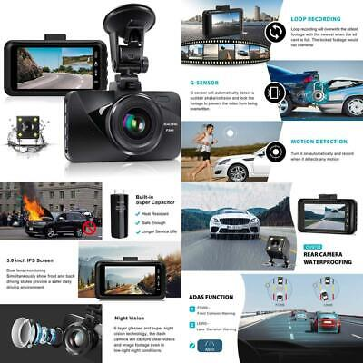 AU138.09 • Buy Dual Dash Cam Car Dashboard Camera Recorder Fhd 1080P Front And Rear Cameras For
