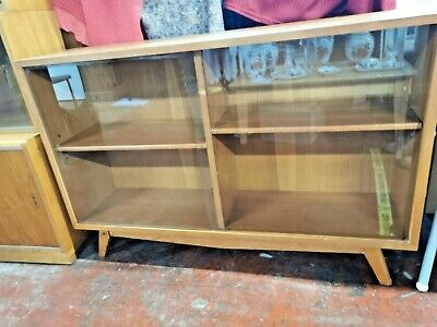 Vintage Mid Century Small Glass Sideboard, Shelving Unit • 49.99£