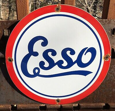 $ CDN12.70 • Buy Vintage ''esso'' Gas & Oil Pump Plate 11.75 Inches  Porcelain Advertising Sign