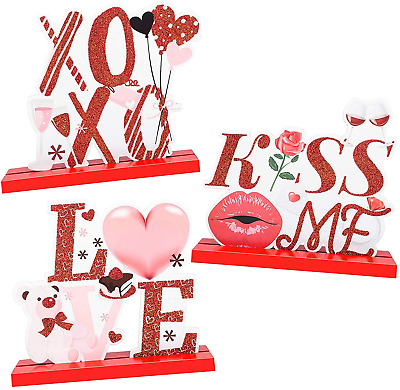£17.01 • Buy 3 Pack Valentines Day Table For Valentines Centerpiece Decorations