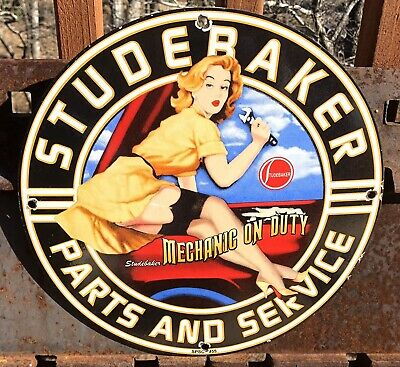 $ CDN12.70 • Buy Vintage 1955 Dated Porcelain Studebaker Parts And Service Gas And Oil Sign