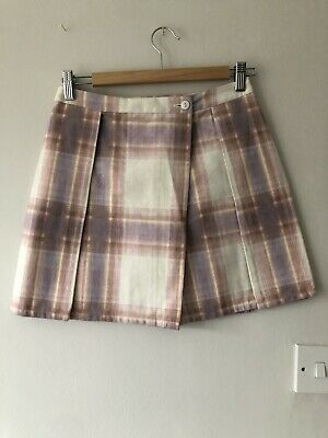 Topshop Boutique Pink Check Pleat Style Mini Skirt Size UK 8 • 8£