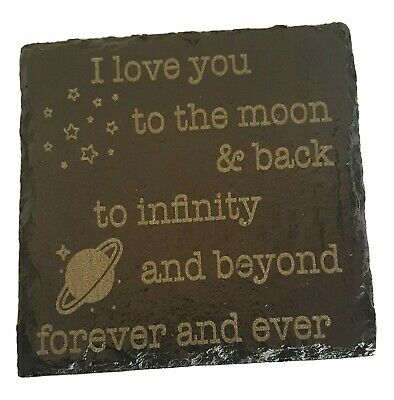 £4 • Buy Personalised Natural Slate Coaster Engraved Cup Mat Custom Gift Home Decoration