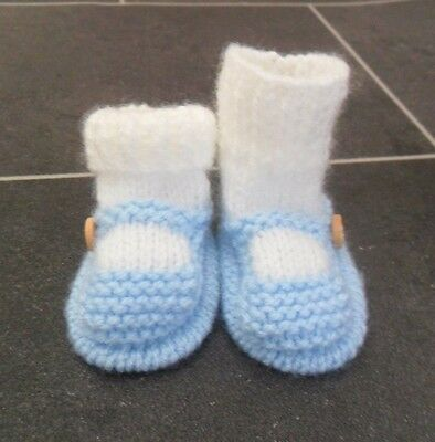 New - Hand Knitted Baby Bootees - Sock And Shoe Style -  Blue - 0-3 Months • 3.50£