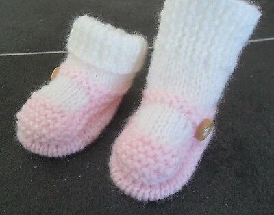 New - Hand Knitted Baby Bootees - Sock And Shoe Style - Light Pink - 0-3 Months • 3.50£