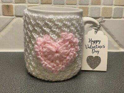 £1.99 • Buy Hand Knitted White Mug Cosy With Pink Crochet Heart. Valentines Gift?