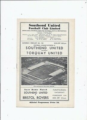 Southend United V Torquay United 4 February 1961 • 0.99£