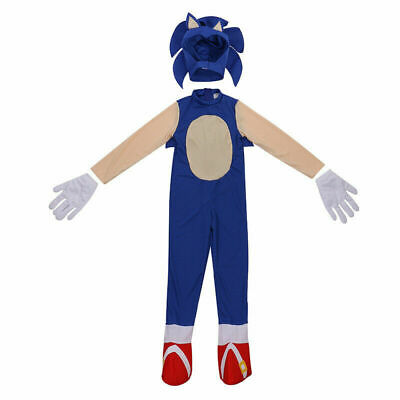 Kids Gift Sonic The Hedgehog Jumpsuit Cosplay Costume Party Fancy Dress Wear Hat • 7.30£